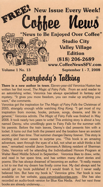 Coffee News article featuring Veronica Huston, author of The Magic of Fairy Falls.